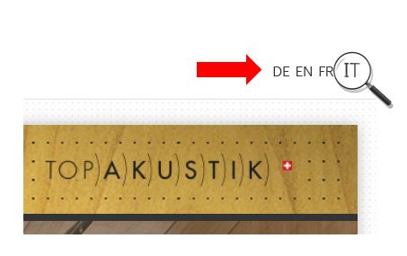 The TOPAKUSTIK® homepage is now additionally available in the Italian language